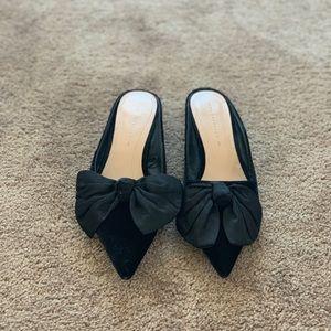 Zara Black Velvet Kitten Heels w/Bow Detail - 9
